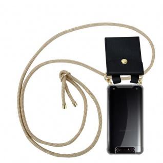 Cadorabo Handy Kette für Samsung Galaxy A80 / A90 in GLÄNZEND BRAUN Silikon Necklace Umhänge Hülle mit Gold Ringen, Kordel Band Schnur und abnehmbarem Etui Schutzhülle