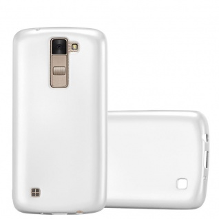 Cadorabo Hülle für LG K8 2016 in METALLIC SILBER - Handyhülle aus flexiblem TPU Silikon - Silikonhülle Schutzhülle Ultra Slim Soft Back Cover Case Bumper