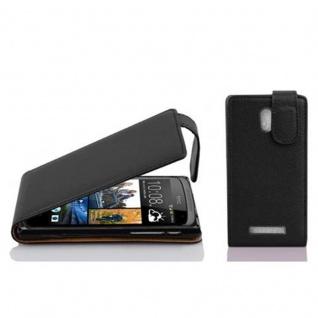 Cadorabo Hülle für HTC Desire 500 in OXID SCHWARZ Handyhülle im Flip Design aus strukturiertem Kunstleder Case Cover Schutzhülle Etui Tasche Book Klapp Style