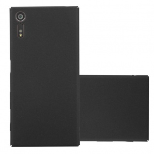Cadorabo Hülle für Sony Xperia XZ / XZs in FROSTY SCHWARZ - Hardcase Handyhülle aus Plastik gegen Kratzer und Stöße - Schutzhülle Bumper Ultra Slim Back Case Hard Cover