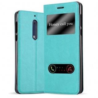 Cadorabo Hülle für Nokia 5 2017 in MINT TÜRKIS - Handyhülle mit Magnetverschluss, Standfunktion und 2 Sichtfenstern - Case Cover Schutzhülle Etui Tasche Book Klapp Style