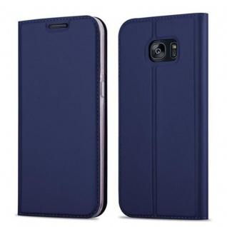 Cadorabo Hülle für Samsung Galaxy S7 EDGE in CLASSY DUNKEL BLAU - Handyhülle mit Magnetverschluss, Standfunktion und Kartenfach - Case Cover Schutzhülle Etui Tasche Book Klapp Style