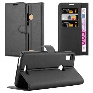 Cadorabo Hülle für WIKO VIEW MAX in PHANTOM SCHWARZ Handyhülle mit Magnetverschluss, Standfunktion und Kartenfach Case Cover Schutzhülle Etui Tasche Book Klapp Style