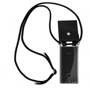 Cadorabo Handy Kette für Huawei NOVA 2 in SCHWARZ - Silikon Necklace Umhänge Hülle mit Silber Ringen, Kordel Band Schnur und abnehmbarem Etui - Schutzhülle