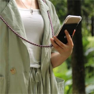 Cadorabo Handy Kette für LG V30 in ROT WEISS - Silikon Necklace Umhänge Hülle mit Silber Ringen, Kordel Band Schnur und abnehmbarem Etui - Schutzhülle - Vorschau 3