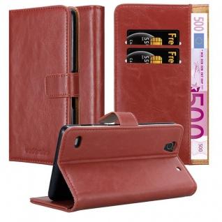 Cadorabo Hülle für Sony Xperia C4 in WEIN ROT ? Handyhülle mit Magnetverschluss, Standfunktion und Kartenfach ? Case Cover Schutzhülle Etui Tasche Book Klapp Style