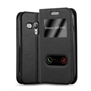 Cadorabo Hülle für Samsung Galaxy S3 MINI in KOMETEN SCHWARZ - Handyhülle mit Magnetverschluss, Standfunktion und 2 Sichtfenstern - Case Cover Schutzhülle Etui Tasche Book Klapp Style