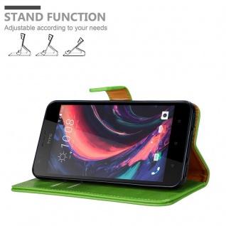 Cadorabo Hülle für HTC Desire 10 Lifestyle / Desire 825 in GRAS GRÜN - Handyhülle mit Magnetverschluss, Standfunktion und Kartenfach - Case Cover Schutzhülle Etui Tasche Book Klapp Style - Vorschau 4