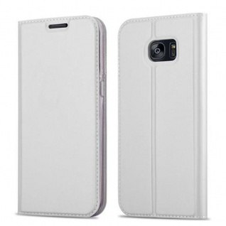 Cadorabo Hülle für Samsung Galaxy S7 EDGE in CLASSY SILBER - Handyhülle mit Magnetverschluss, Standfunktion und Kartenfach - Case Cover Schutzhülle Etui Tasche Book Klapp Style