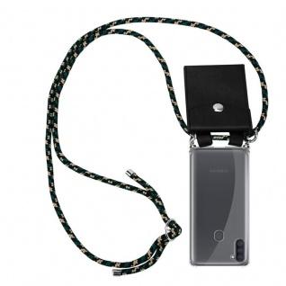 Cadorabo Handy Kette für Samsung Galaxy A11 in CAMOUFLAGE Silikon Necklace Umhänge Hülle mit Silber Ringen, Kordel Band Schnur und abnehmbarem Etui Schutzhülle