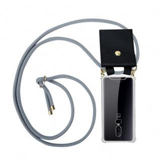 Cadorabo Handy Kette für OnePlus 6 in SILBER GRAU Silikon Necklace Umhänge Hülle mit Gold Ringen, Kordel Band Schnur und abnehmbarem Etui Schutzhülle