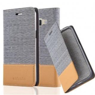Cadorabo Hülle für Samsung Galaxy A3 2015 in HELL GRAU BRAUN - Handyhülle mit Magnetverschluss, Standfunktion und Kartenfach - Case Cover Schutzhülle Etui Tasche Book Klapp Style