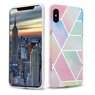 Cadorabo Hülle für Apple iPhone X / XS Hülle in Regenbogen Marmor No.11 Handyhülle aus TPU Silikon mit Muster Mosaik Silikonhülle Schutzhülle Ultra Slim Back Cover Case Bumper