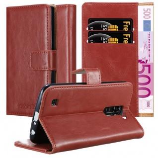 Cadorabo Hülle für LG K10 2016 in WEIN ROT - Handyhülle mit Magnetverschluss, Standfunktion und Kartenfach - Case Cover Schutzhülle Etui Tasche Book Klapp Style