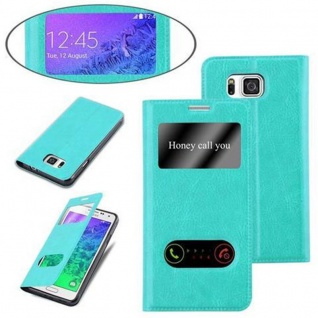 Cadorabo Hülle für Samsung Galaxy ALPHA in MINT TÜRKIS - Handyhülle mit Magnetverschluss, Standfunktion und 2 Sichtfenstern - Case Cover Schutzhülle Etui Tasche Book Klapp Style - Vorschau 4