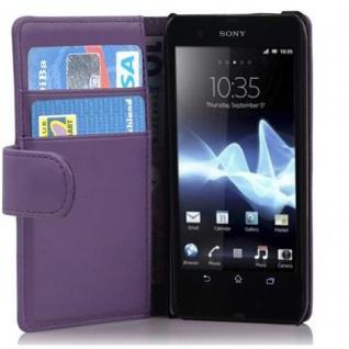 Cadorabo Hülle für Sony Xperia T in FLIEDER VIOLETT - Handyhülle aus glattem Kunstleder mit Standfunktion und Kartenfach - Case Cover Schutzhülle Etui Tasche Book Klapp Style - Vorschau 1