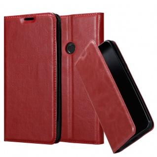 Cadorabo Hülle für Huawei Y6 2019 in APFEL ROT Handyhülle mit Magnetverschluss, Standfunktion und Kartenfach Case Cover Schutzhülle Etui Tasche Book Klapp Style