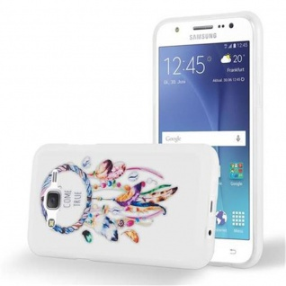 Cadorabo Hülle für Samsung Galaxy J5 2015 - Hülle im Design TRAUMFÄNGER 'Dreams come true' ? Handyhülle aus TPU Silikon mit Aufdruck - Silikonhülle Schutzhülle Ultra Slim Soft Back Cover Case Bumper