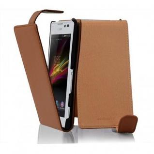 Cadorabo Hülle für Sony Xperia C in COGNAC BRAUN - Handyhülle im Flip Design aus strukturiertem Kunstleder - Case Cover Schutzhülle Etui Tasche Book Klapp Style