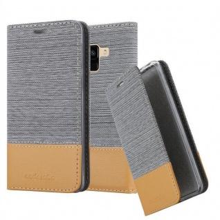 Cadorabo Hülle für Samsung Galaxy A8 2018 in HELL GRAU BRAUN - Handyhülle mit Magnetverschluss, Standfunktion und Kartenfach - Case Cover Schutzhülle Etui Tasche Book Klapp Style