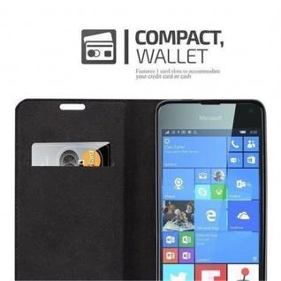 Cadorabo Hülle für Nokia Lumia 650 in NACHT SCHWARZ - Handyhülle mit Magnetverschluss, Standfunktion und Kartenfach - Case Cover Schutzhülle Etui Tasche Book Klapp Style - Vorschau 3