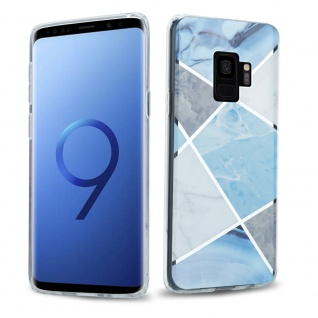 Cadorabo Hülle für Samsung Galaxy S9 Hülle in Blau weiß grau Marmor No.2 Handyhülle aus TPU Silikon mit Muster Mosaik Silikonhülle Schutzhülle Ultra Slim Back Cover Case Bumper