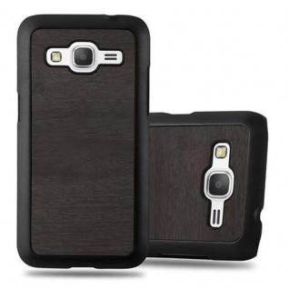 Cadorabo Hülle für Samsung Galaxy CORE PRIME in WOODY SCHWARZ ? Hardcase Handyhülle aus Plastik gegen Kratzer und Stöße ? Schutzhülle Bumper Ultra Slim Back Case Hard Cover