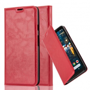 Cadorabo Hülle für Google PIXEL 2 XL in APFEL ROT - Handyhülle mit Magnetverschluss, Standfunktion und Kartenfach - Case Cover Schutzhülle Etui Tasche Book Klapp Style