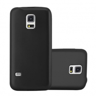 Cadorabo Hülle für Samsung Galaxy S5 / S5 NEO in METALLIC SCHWARZ - Handyhülle aus flexiblem TPU Silikon - Silikonhülle Schutzhülle Ultra Slim Soft Back Cover Case Bumper
