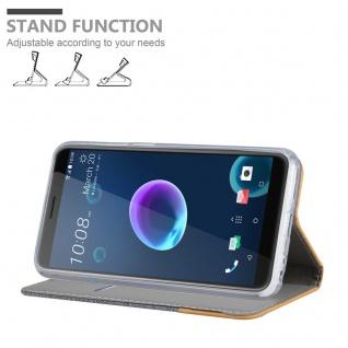 Cadorabo Hülle für HTC Desire 12 in HELL GRAU BRAUN - Handyhülle mit Magnetverschluss, Standfunktion und Kartenfach - Case Cover Schutzhülle Etui Tasche Book Klapp Style - Vorschau 4