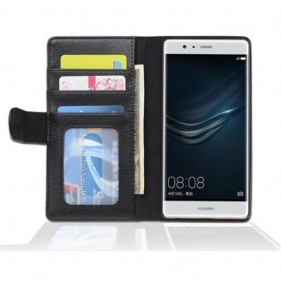 Cadorabo Hülle für Huawei P9 in OXID SCHWARZ ? Handyhülle mit Magnetverschluss und 3 Kartenfächern ? Case Cover Schutzhülle Etui Tasche Book Klapp Style - Vorschau 3