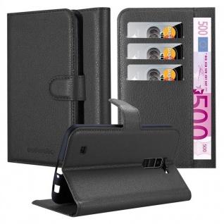 Cadorabo Hülle für LG K10 2016 in PHANTOM SCHWARZ - Handyhülle mit Magnetverschluss, Standfunktion und Kartenfach - Case Cover Schutzhülle Etui Tasche Book Klapp Style