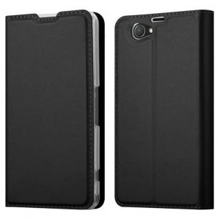 Cadorabo Hülle für Sony Xperia Z1 COMPACT in CLASSY SCHWARZ - Handyhülle mit Magnetverschluss, Standfunktion und Kartenfach - Case Cover Schutzhülle Etui Tasche Book Klapp Style