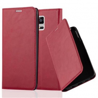 Cadorabo Hülle für Samsung Galaxy NOTE 4 in APFEL ROT - Handyhülle mit Magnetverschluss, Standfunktion und Kartenfach - Case Cover Schutzhülle Etui Tasche Book Klapp Style