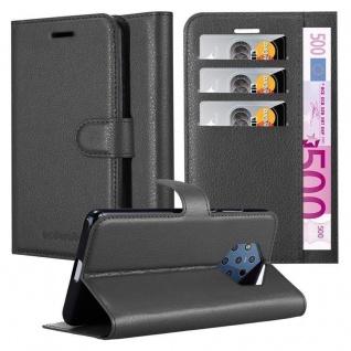 Cadorabo Hülle für Nokia 9 PURE VIEW in PHANTOM SCHWARZ Handyhülle mit Magnetverschluss, Standfunktion und Kartenfach Case Cover Schutzhülle Etui Tasche Book Klapp Style