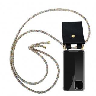 Cadorabo Handy Kette für Apple iPhone 11 PRO MAX (XI PRO MAX) in RAINBOW - Silikon Necklace Umhänge Hülle mit Gold Ringen, Kordel Band Schnur und abnehmbarem Etui - Schutzhülle