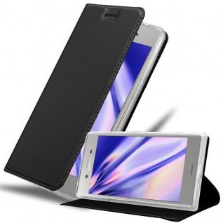 Cadorabo Hülle für Sony Xperia XZ1 in CLASSY SCHWARZ - Handyhülle mit Magnetverschluss, Standfunktion und Kartenfach - Case Cover Schutzhülle Etui Tasche Book Klapp Style
