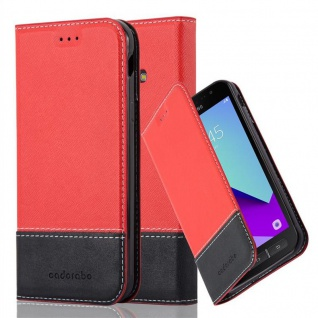 Cadorabo Hülle für Samsung Galaxy XCOVER 4 in ROT SCHWARZ ? Handyhülle mit Magnetverschluss, Standfunktion und Kartenfach ? Case Cover Schutzhülle Etui Tasche Book Klapp Style