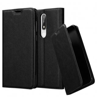 Cadorabo Hülle für Nokia 5.1 PLUS in NACHT SCHWARZ Handyhülle mit Magnetverschluss, Standfunktion und Kartenfach Case Cover Schutzhülle Etui Tasche Book Klapp Style