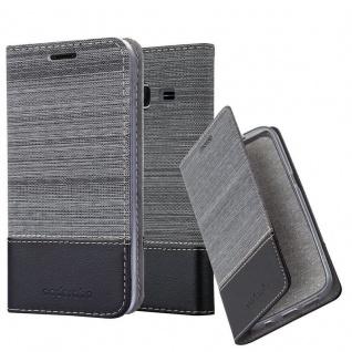 Cadorabo Hülle für Samsung Galaxy J1 MINI 2016 in GRAU SCHWARZ - Handyhülle mit Magnetverschluss, Standfunktion und Kartenfach - Case Cover Schutzhülle Etui Tasche Book Klapp Style