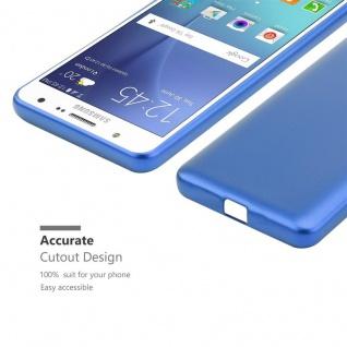 Cadorabo Hülle für Samsung Galaxy J7 2015 in METALLIC BLAU - Handyhülle aus flexiblem TPU Silikon - Silikonhülle Schutzhülle Ultra Slim Soft Back Cover Case Bumper - Vorschau 5