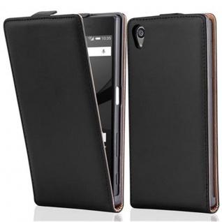 Cadorabo Hülle für Sony Xperia Z5 in KAVIAR SCHWARZ - Handyhülle im Flip Design aus glattem Kunstleder - Case Cover Schutzhülle Etui Tasche Book Klapp Style