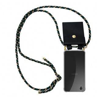 Cadorabo Handy Kette für Sony Xperia L1 in CAMOUFLAGE Silikon Necklace Umhänge Hülle mit Gold Ringen, Kordel Band Schnur und abnehmbarem Etui Schutzhülle