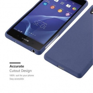 Cadorabo Hülle für Sony Xperia Z1 in FROST DUNKEL BLAU - Handyhülle aus flexiblem TPU Silikon - Silikonhülle Schutzhülle Ultra Slim Soft Back Cover Case Bumper - Vorschau 2