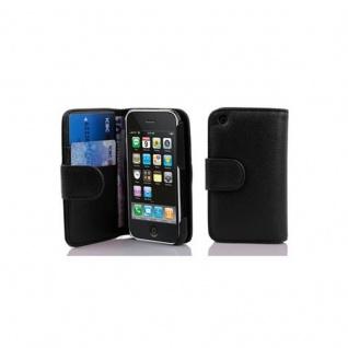 Cadorabo Hülle für Apple iPhone 3 / iPhone 3GS in OXID SCHWARZ ? Handyhülle aus strukturiertem Kunstleder mit Standfunktion und Kartenfach ? Case Cover Schutzhülle Etui Tasche Book Klapp Style