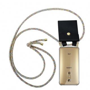 Cadorabo Handy Kette für ZTE Axon 7 in RAINBOW Silikon Necklace Umhänge Hülle mit Gold Ringen, Kordel Band Schnur und abnehmbarem Etui Schutzhülle