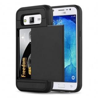 Cadorabo Hülle für Samsung Galaxy J5 2015 (5) - Hülle in TRESOR SCHWARZ - Handyhülle mit verstecktem Kartenfach - Hard Case TPU Silikon Schutzhülle für Hybrid Cover