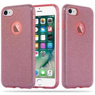 Cadorabo Hülle für Apple iPhone 8 / iPhone 7 / iPhone 7S - Hülle in STERNENSTAUB PINK - TPU Silikon und Hardcase Handyhülle im Glitzer Design - Hard Case TPU Silikon Schutzhülle