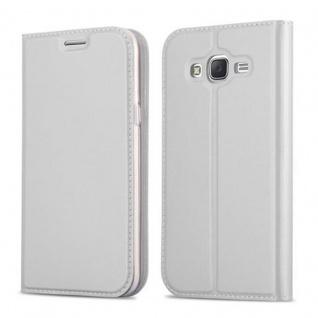 Cadorabo Hülle für Samsung Galaxy J5 2015 in CLASSY SILBER - Handyhülle mit Magnetverschluss, Standfunktion und Kartenfach - Case Cover Schutzhülle Etui Tasche Book Klapp Style