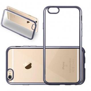 Cadorabo Hülle für Apple iPhone 6 / iPhone 6S - Hülle in TRANSPARENT mit CHROM SCHWARZ ? Handyhülle aus TPU Silikon im Chrom Design - Silikonhülle Schutzhülle Ultra Slim Soft Back Cover Case Bumper